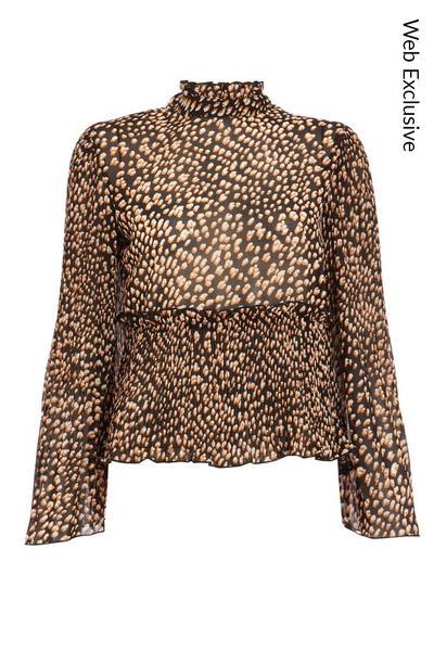 Tan Chiffon Leopard Print Peplum Blouse